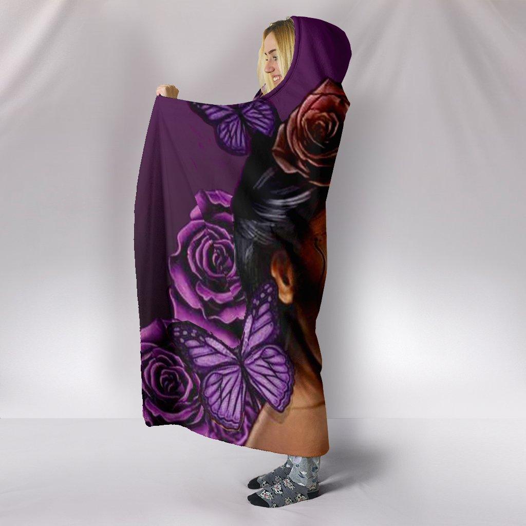 floral sugar skull girl all over print hooded blanket 4
