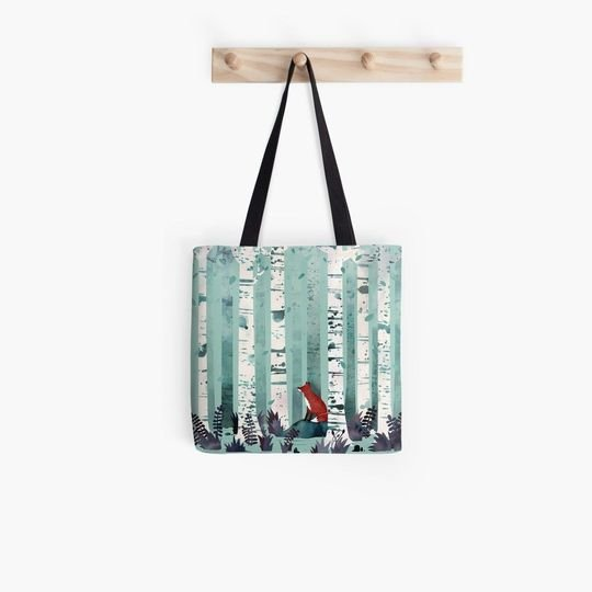 fox in the forest watercolor all over printed tote bag 2