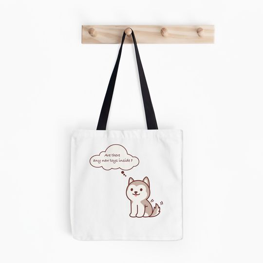 husky dog are there any new toys inside tote bag 4