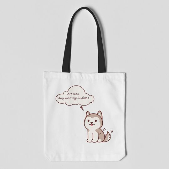 husky dog are there any new toys inside tote bag 5