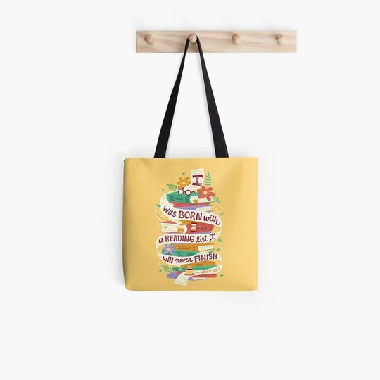 i was born with a reading list i will never finish all over printed tote bag 3