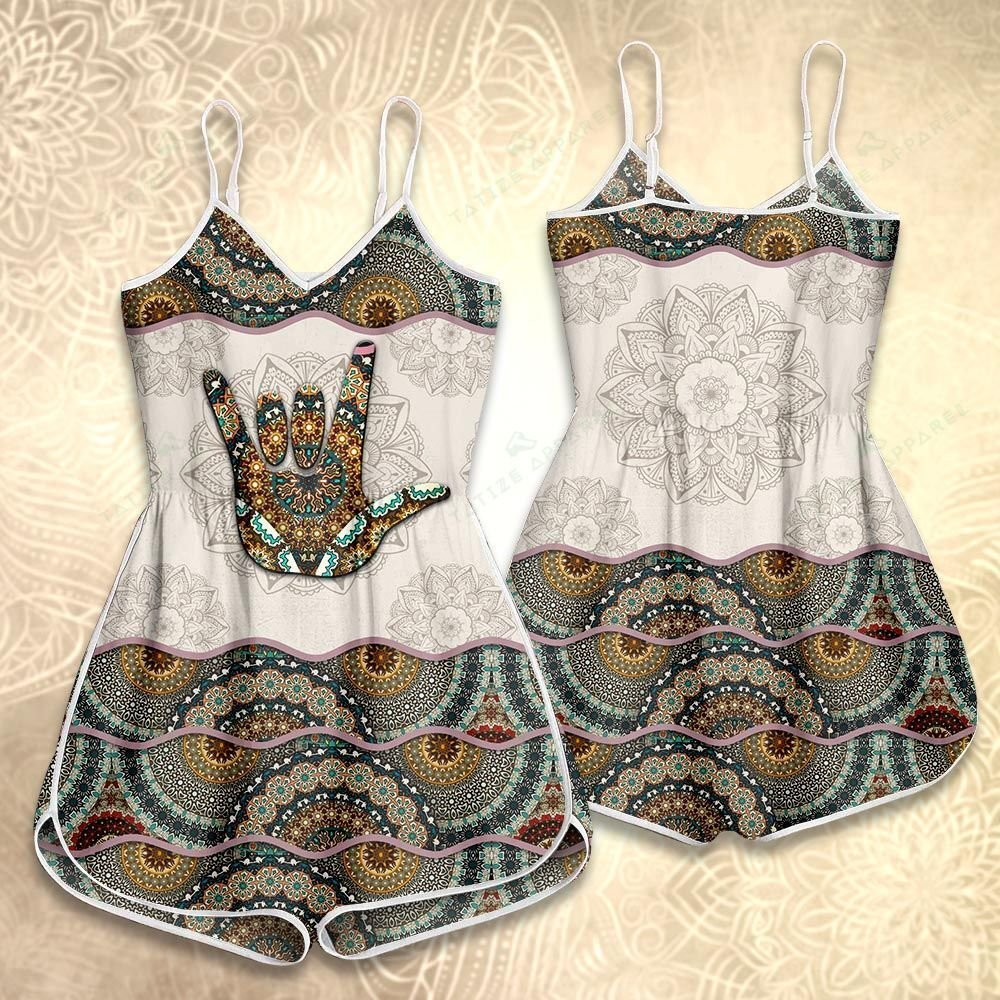 mandala version love hand sign all over printed rompers 4