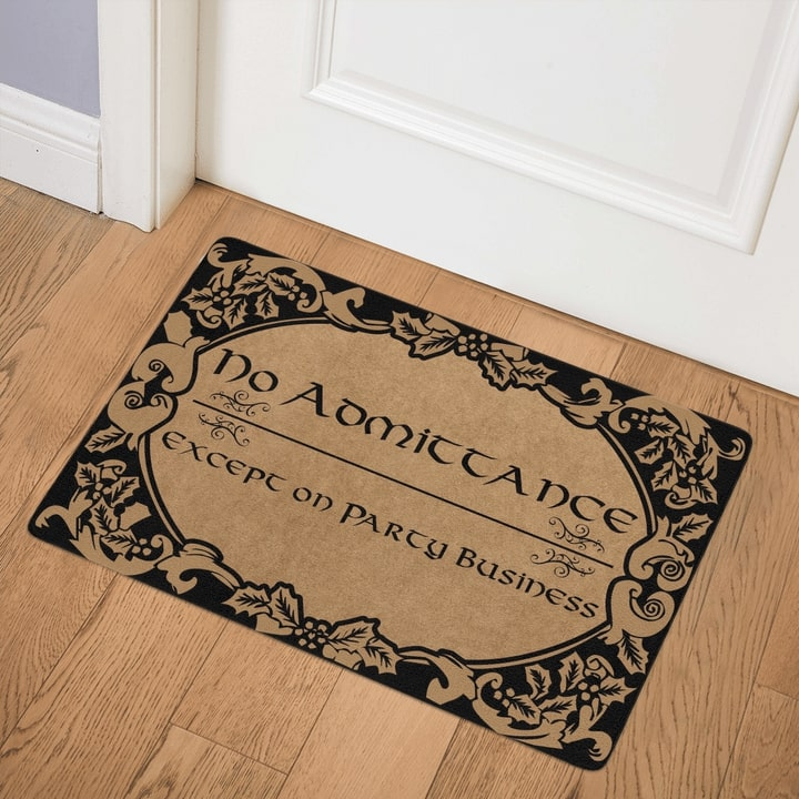no admittance except on party business all over printed doormat 3