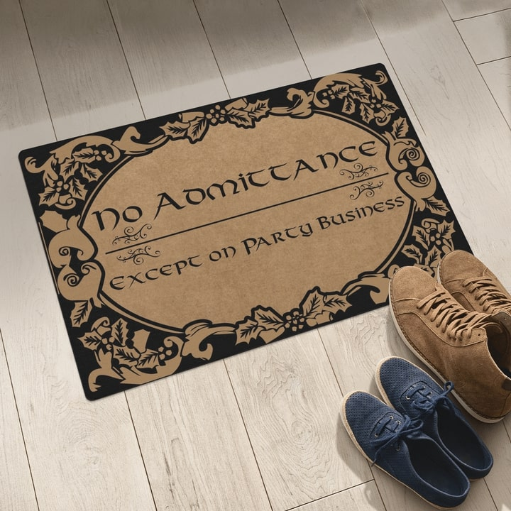 no admittance except on party business all over printed doormat 5