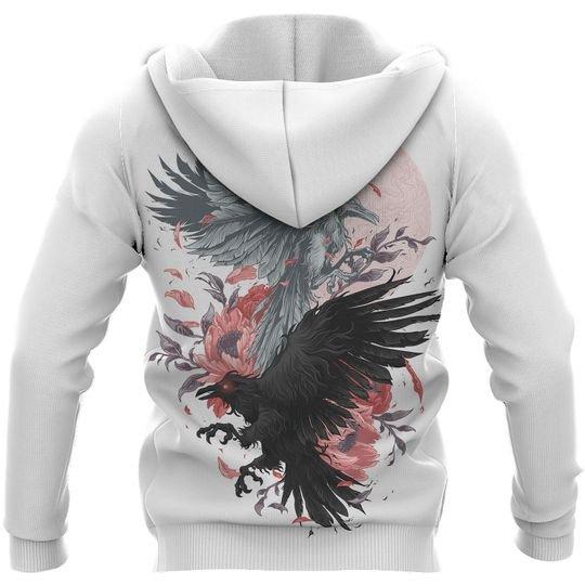 odin's ravens viking all over printed hoodie - back