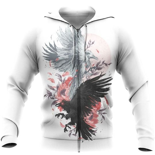 odin's ravens viking all over printed zip hoodie