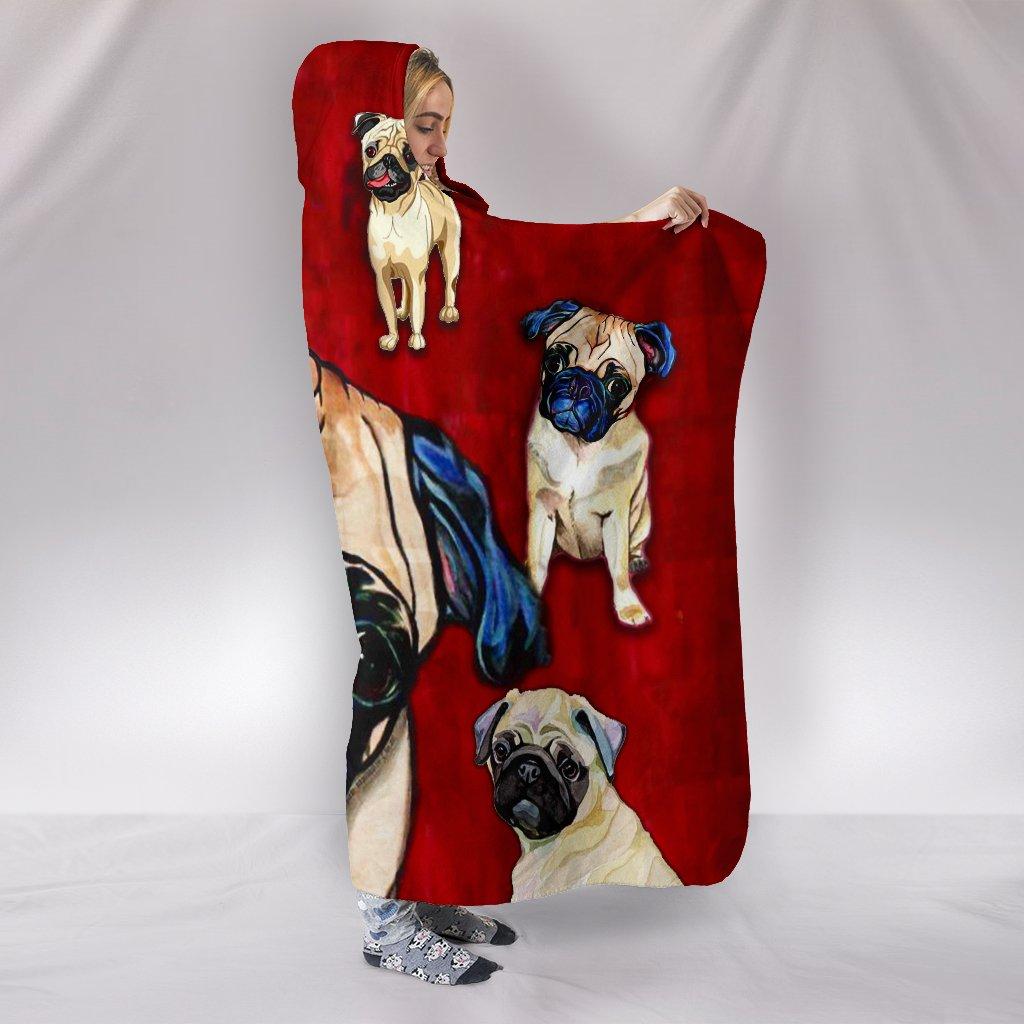 pug dog lover full printing hooded blanket 2