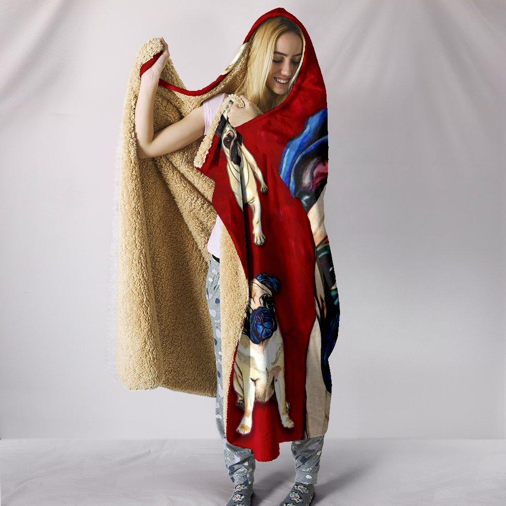 pug dog lover full printing hooded blanket 3