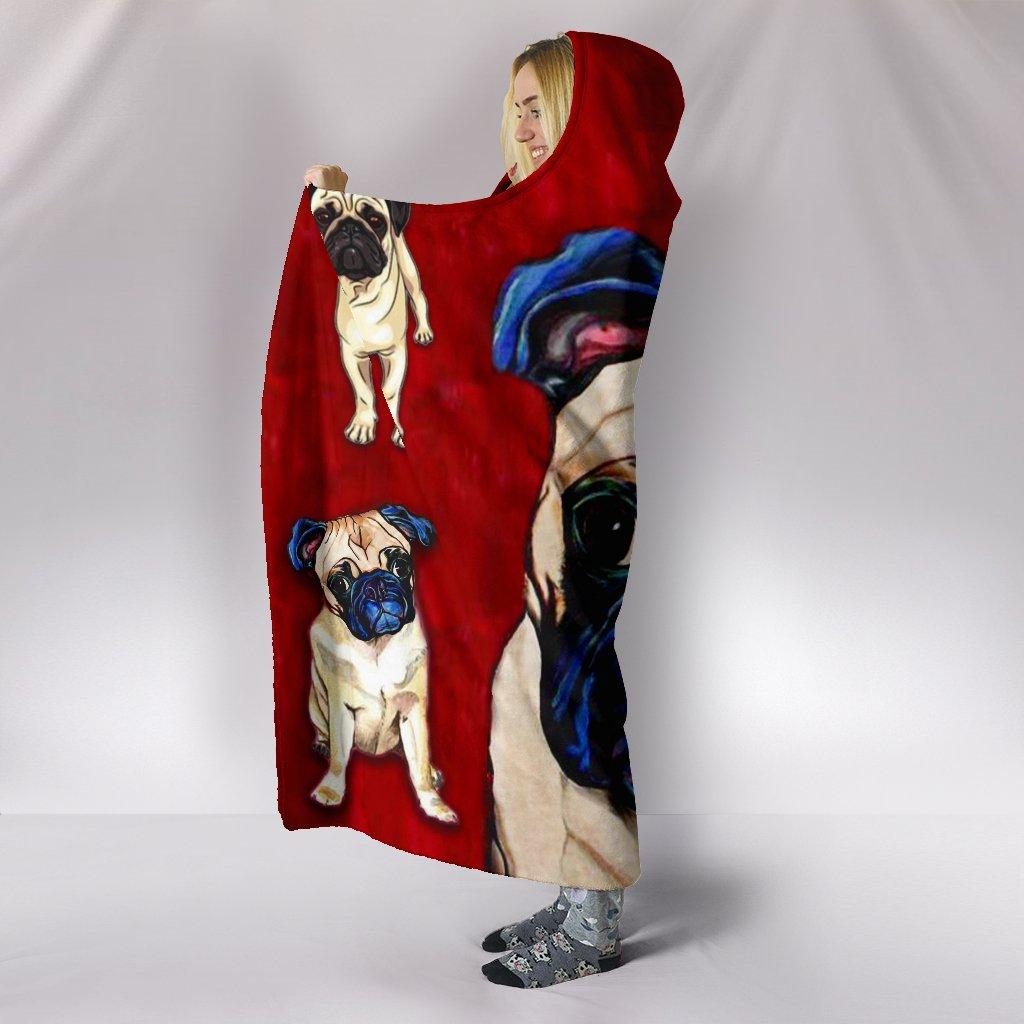 pug dog lover full printing hooded blanket 4