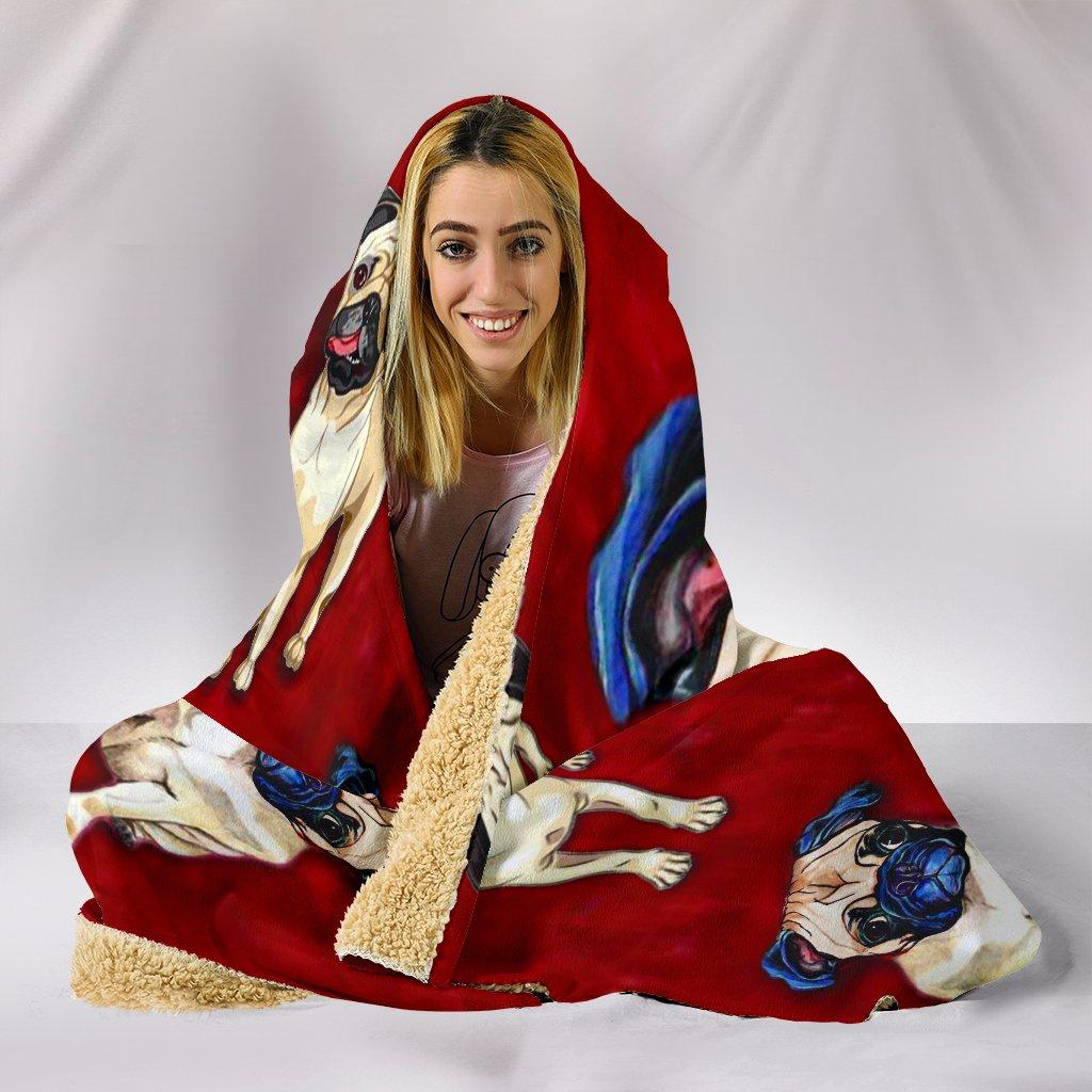 pug dog lover full printing hooded blanket 5