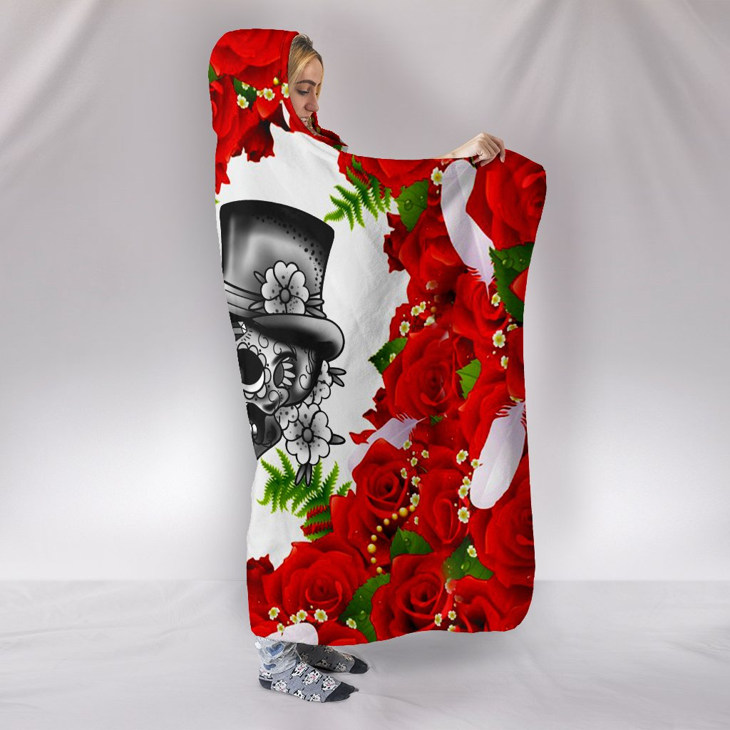 skull couple roses red all over printed hooded blanket 2