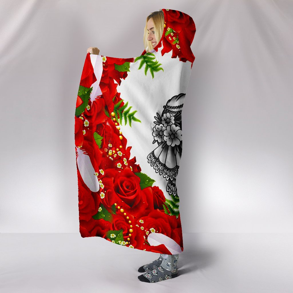skull couple roses red all over printed hooded blanket 4