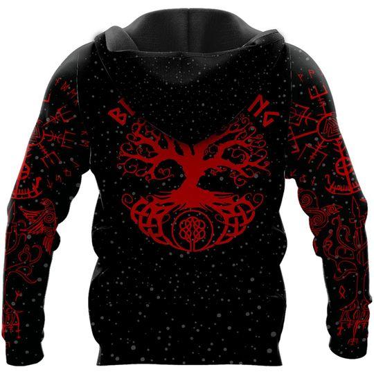 skull viking berserker gang all over printed hoodie - back