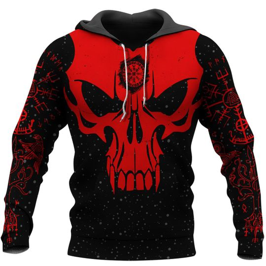 skull viking berserker gang all over printed hoodie