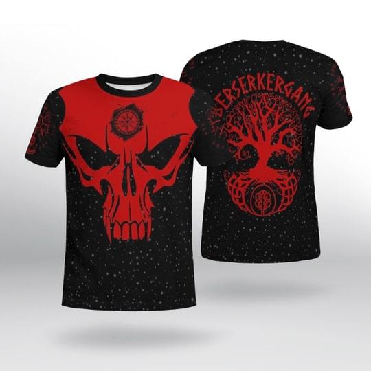 skull viking berserker gang all over printed tshirt