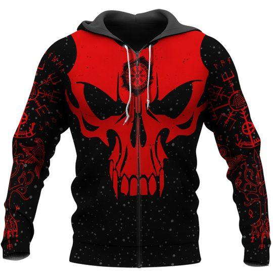 skull viking berserker gang all over printed zip hoodie