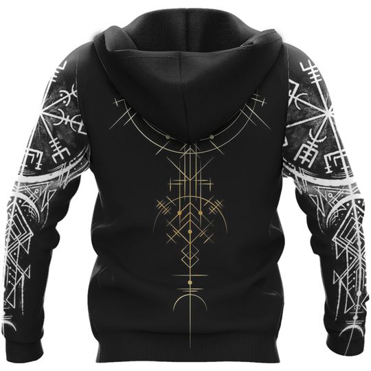 skull viking symbol all over printed hoodie - back