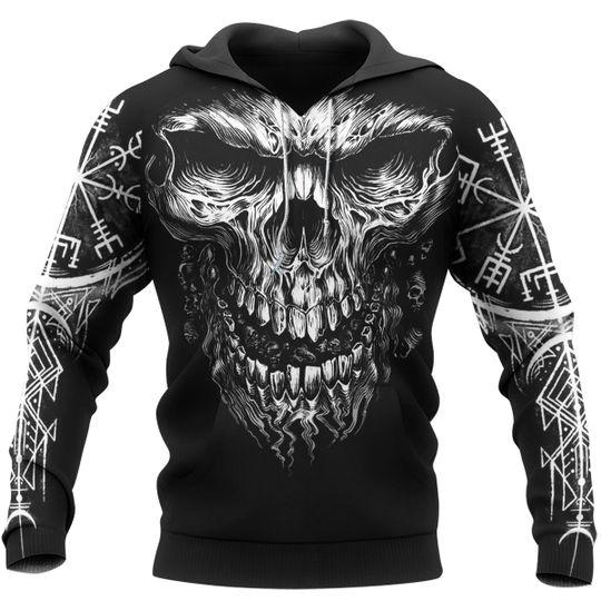 skull viking symbol all over printed hoodie