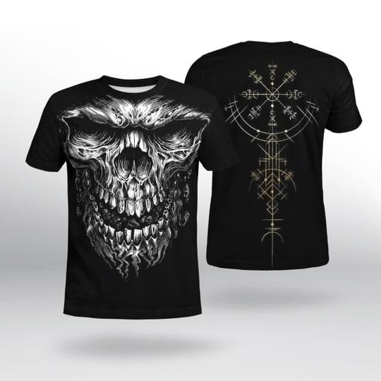 skull viking symbol all over printed tshirt