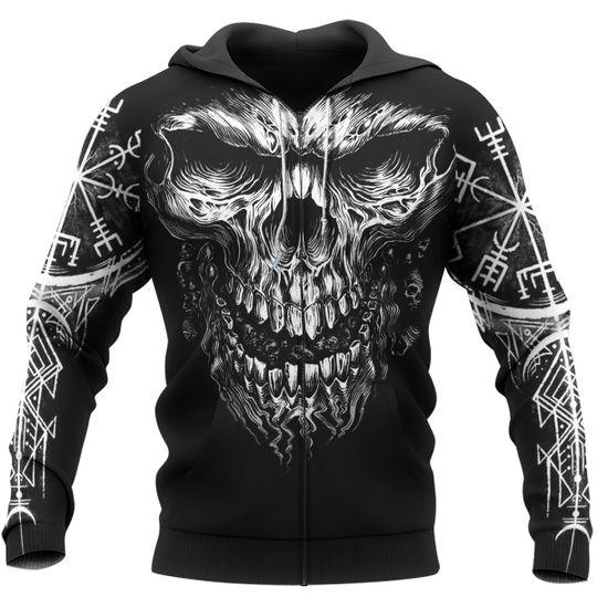 skull viking symbol all over printed zip hoodie