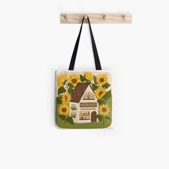 sunflower bookshop book lovers reading all over printed tote bag 2