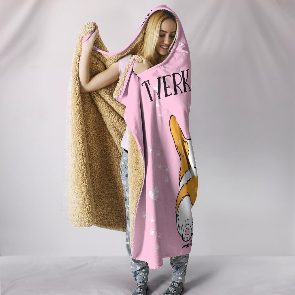 twerk it like corgi full printing hooded blanket 3