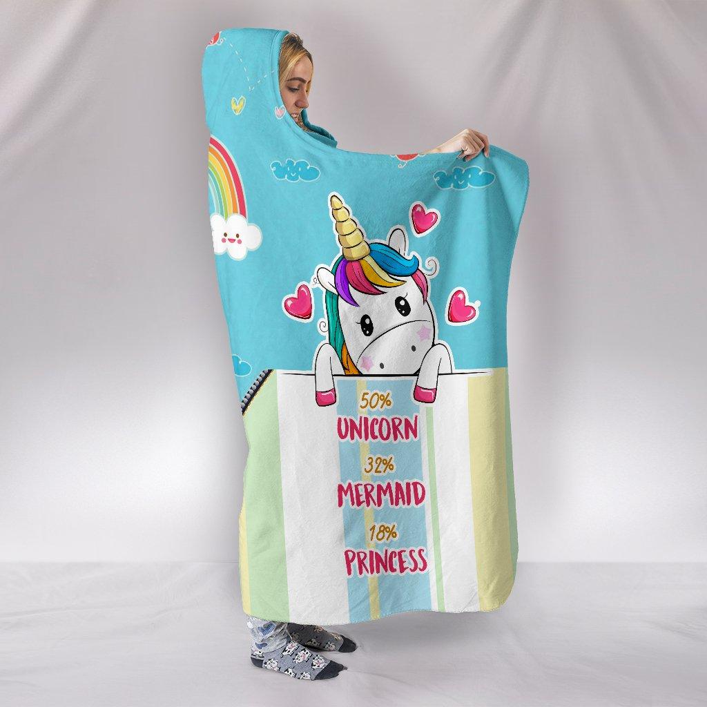 unicorn mermaid princess full printing hooded blanket 2