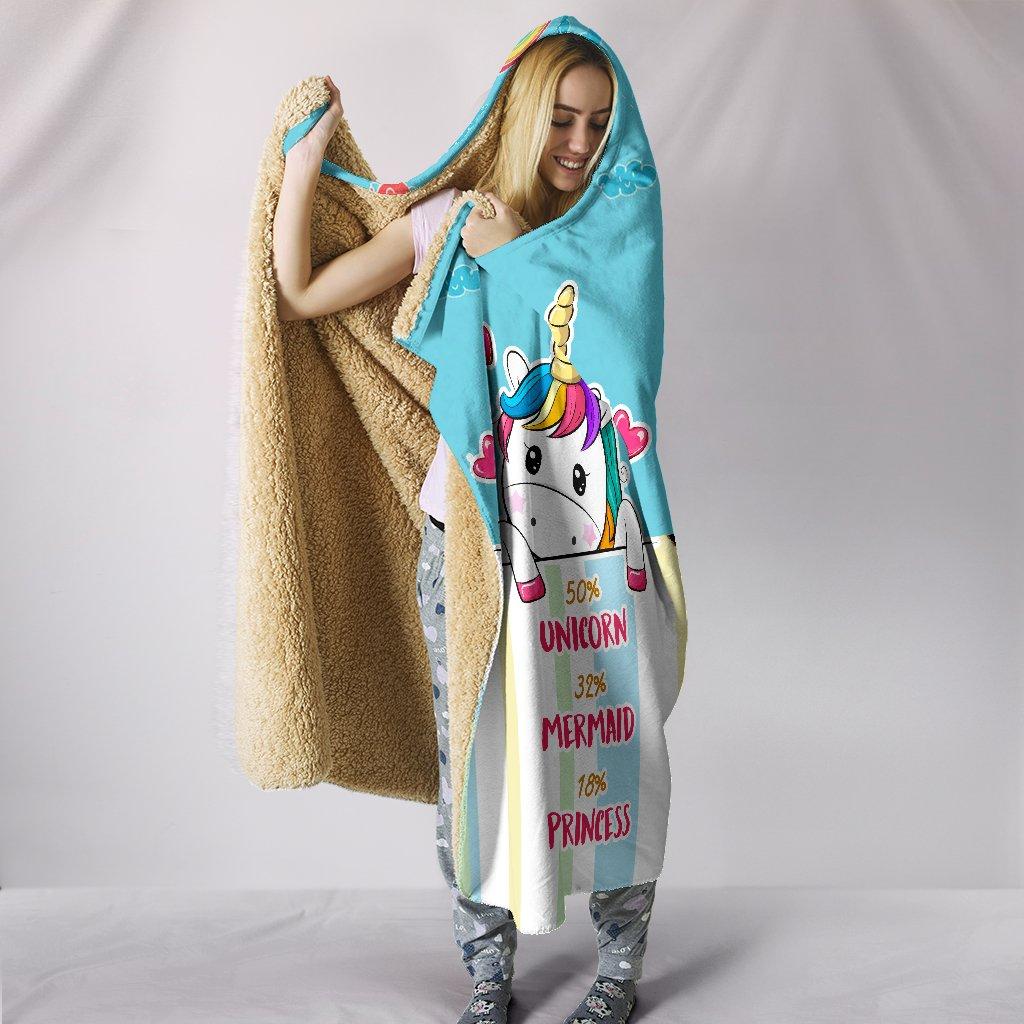 unicorn mermaid princess full printing hooded blanket 3