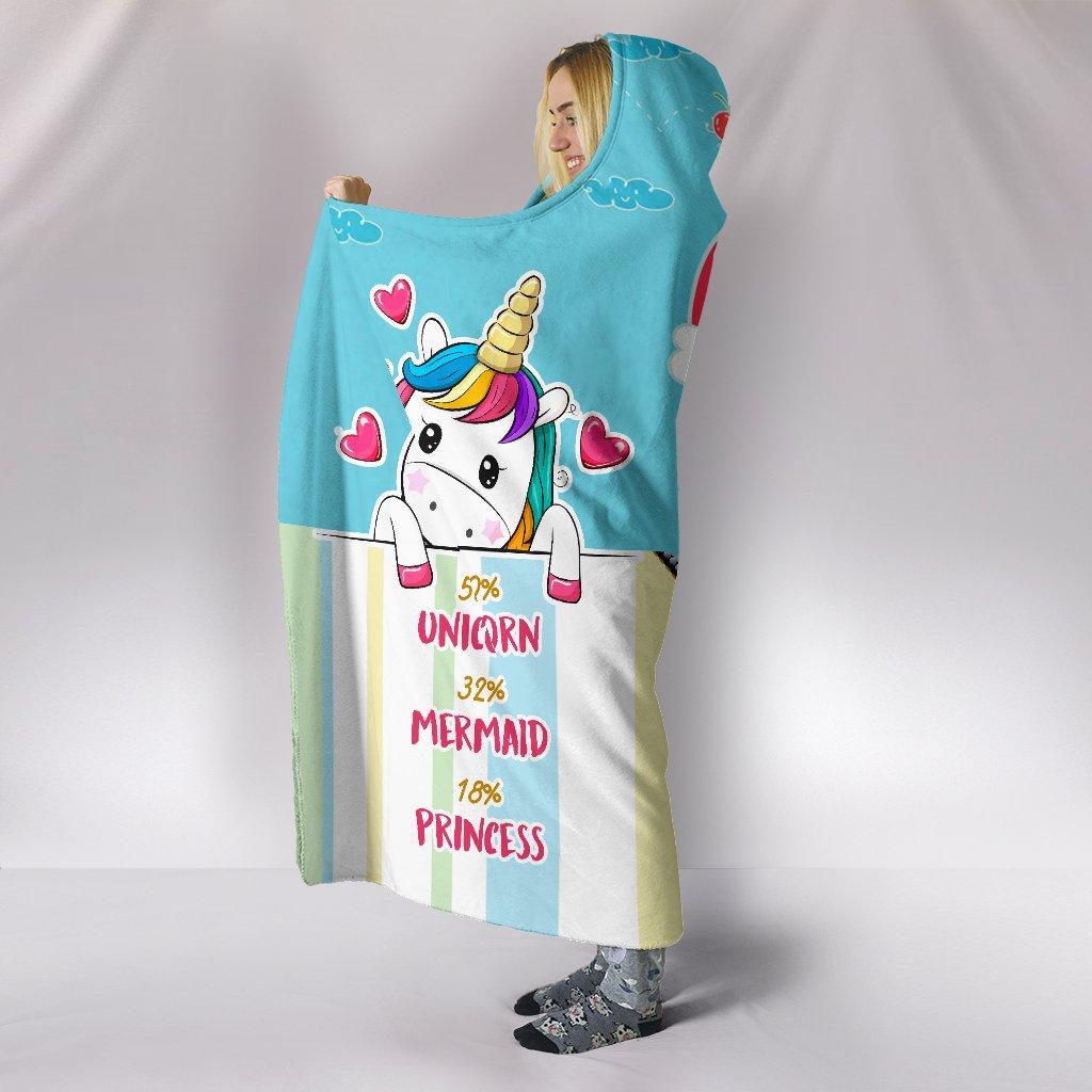 unicorn mermaid princess full printing hooded blanket 4