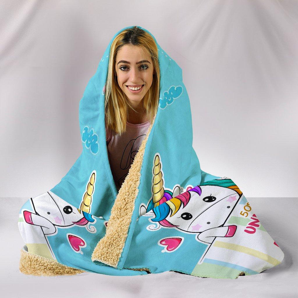 unicorn mermaid princess full printing hooded blanket 5