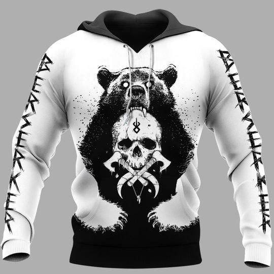 viking berserker bear all over printed hoodie