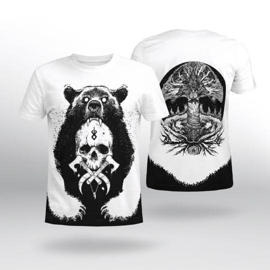 viking berserker bear all over printed tshirt