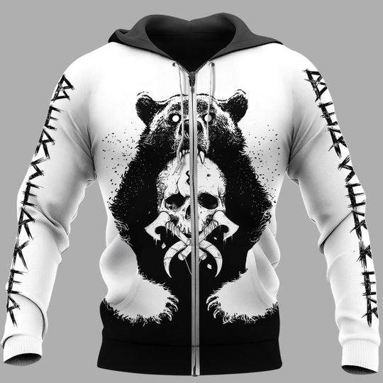 viking berserker bear all over printed zip hoodie