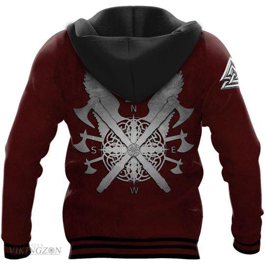 viking berserker warrior all over printed hoodie - back