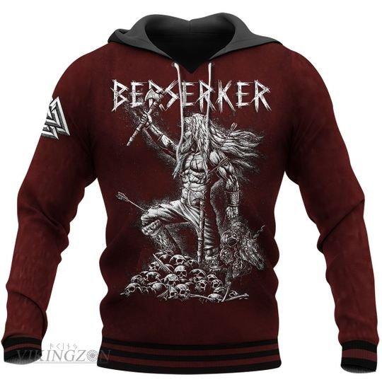 viking berserker warrior all over printed hoodie