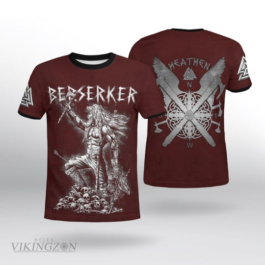 viking berserker warrior all over printed tshirt