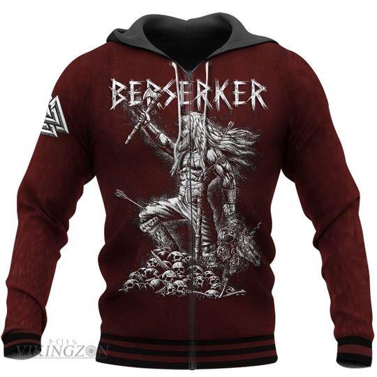 viking berserker warrior all over printed zip hoodie