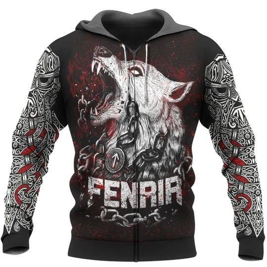 viking fenrir and raven all over print zip hoodie