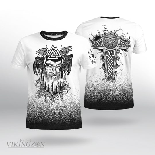 viking king odin and raven all over printed tshirt