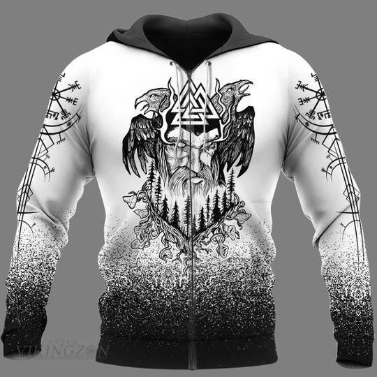viking king odin and raven all over printed zip hoodie