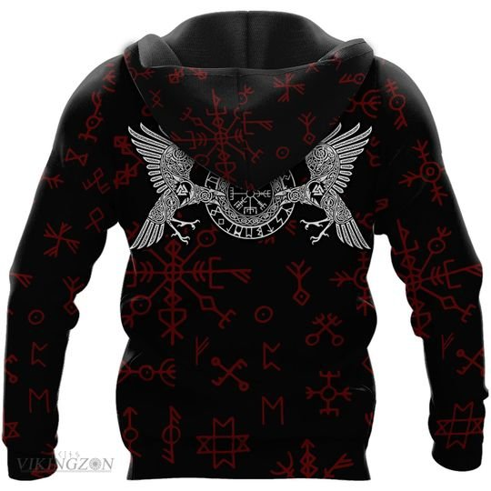 viking raven and rune all over printed hoodie - back