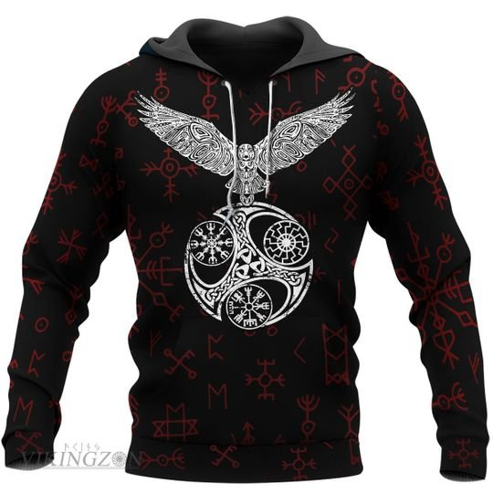 viking raven and rune all over printed hoodie