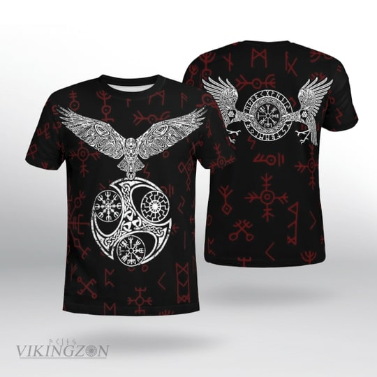 viking raven and rune all over printed tshirt