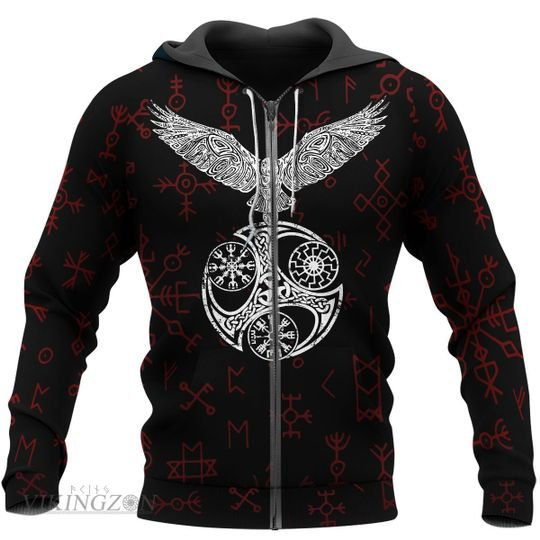viking raven and rune all over printed zip hoodie