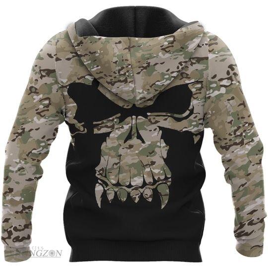 viking skull camo all over printed hoodie - back