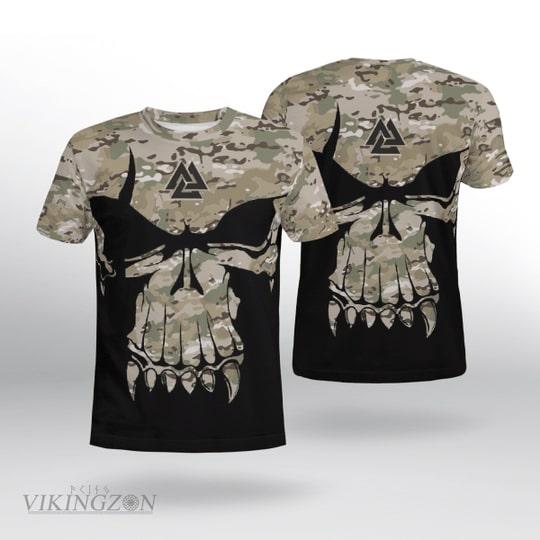 viking skull camo all over printed tshirt