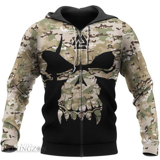 viking skull camo all over printed zip hoodie