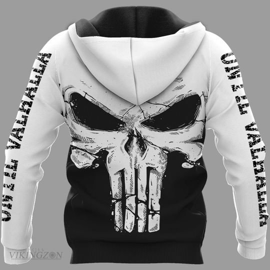 viking skull until valhalla all over printed hoodie - back