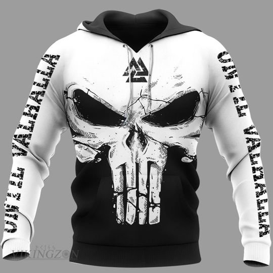 viking skull until valhalla all over printed hoodie