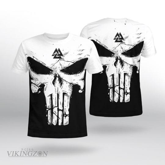 viking skull until valhalla all over printed tshirt